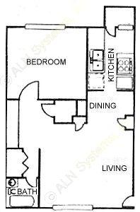 800 sq. ft. A5 floor plan