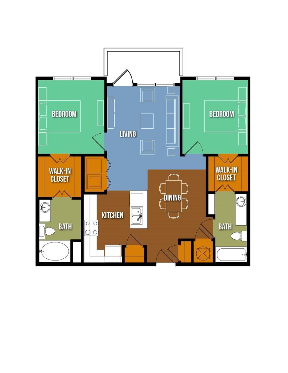 1,008 sq. ft. Gutzon Borglum floor plan