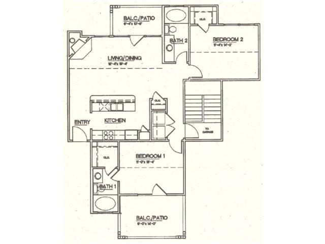 1,030 sq. ft. B3 floor plan