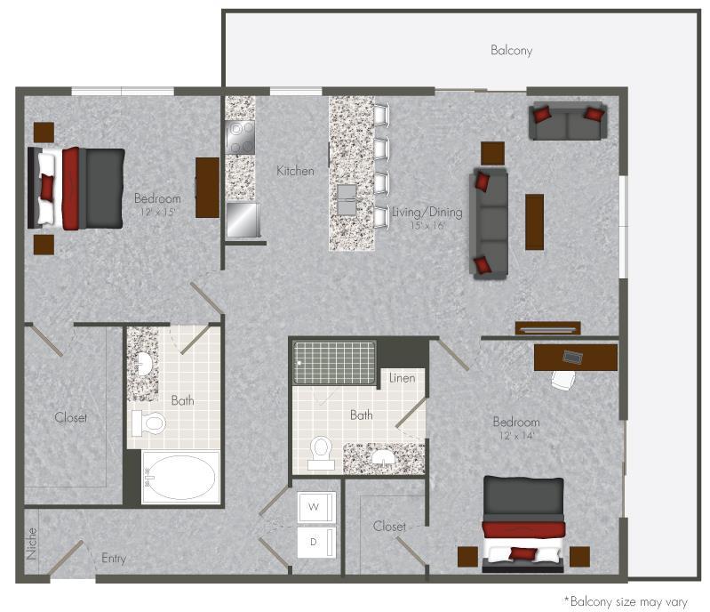 1,215 sq. ft. 2-X3 floor plan
