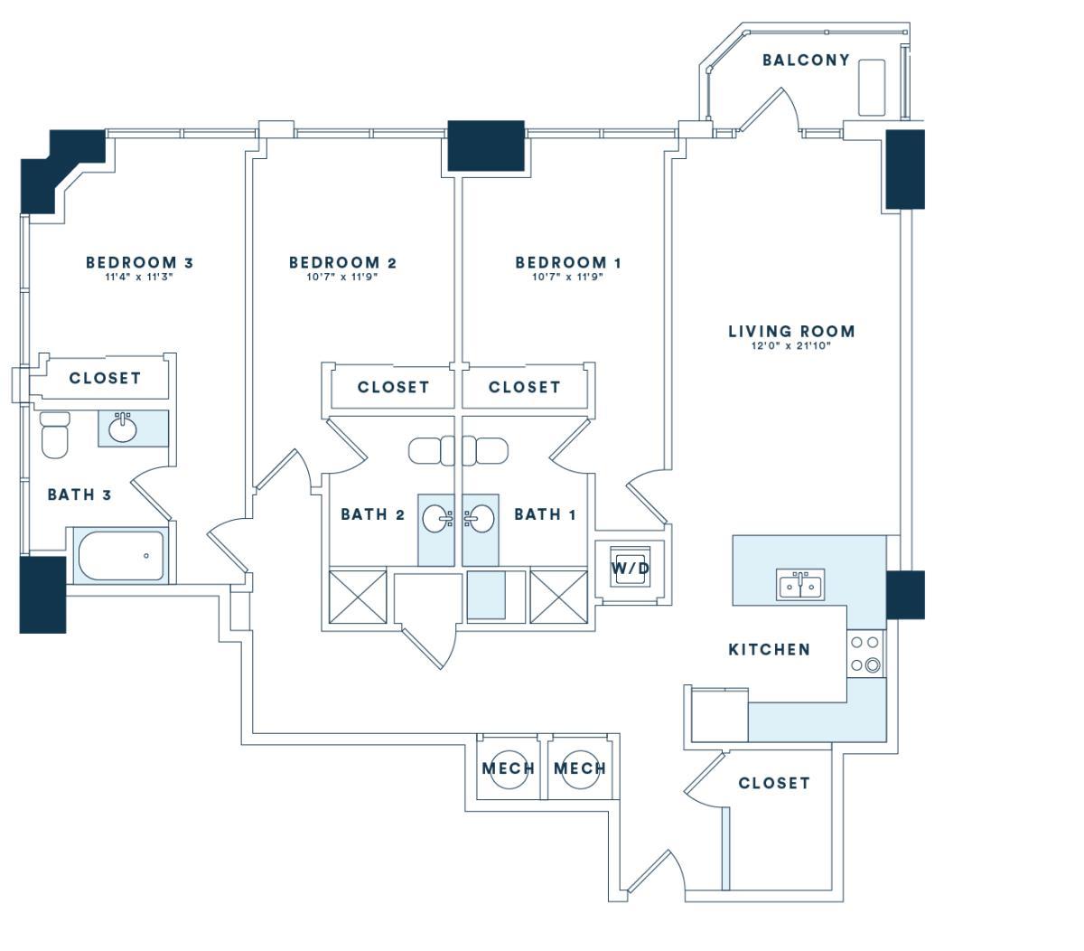 1,521 sq. ft. C6 floor plan