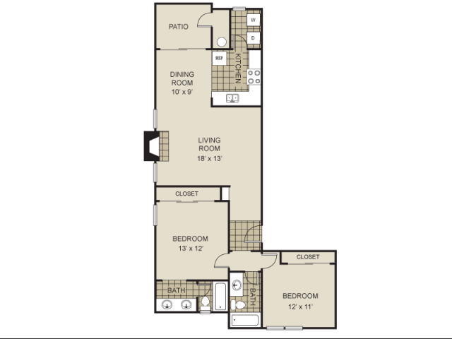 997 sq. ft. B3-C floor plan