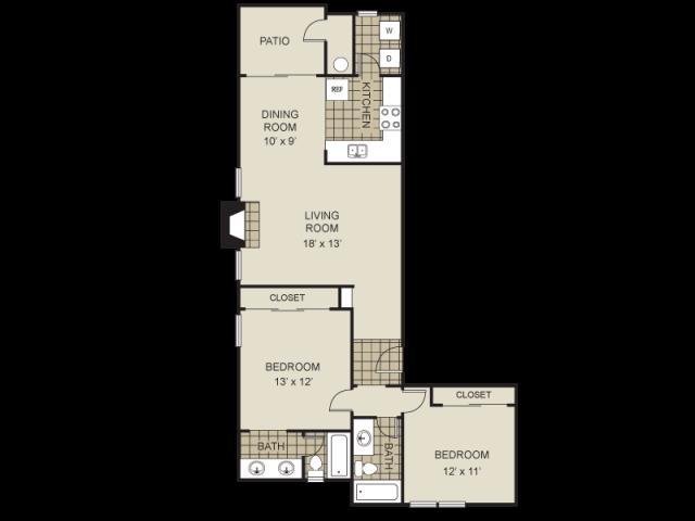 997 sq. ft. B3-C floor plan