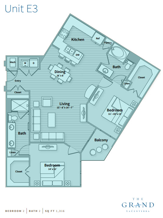 1,316 sq. ft. E3 floor plan