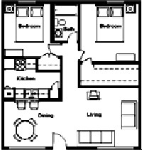 823 sq. ft. to 1,010 sq. ft. floor plan