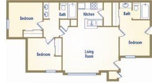 1,050 sq. ft. Master floor plan