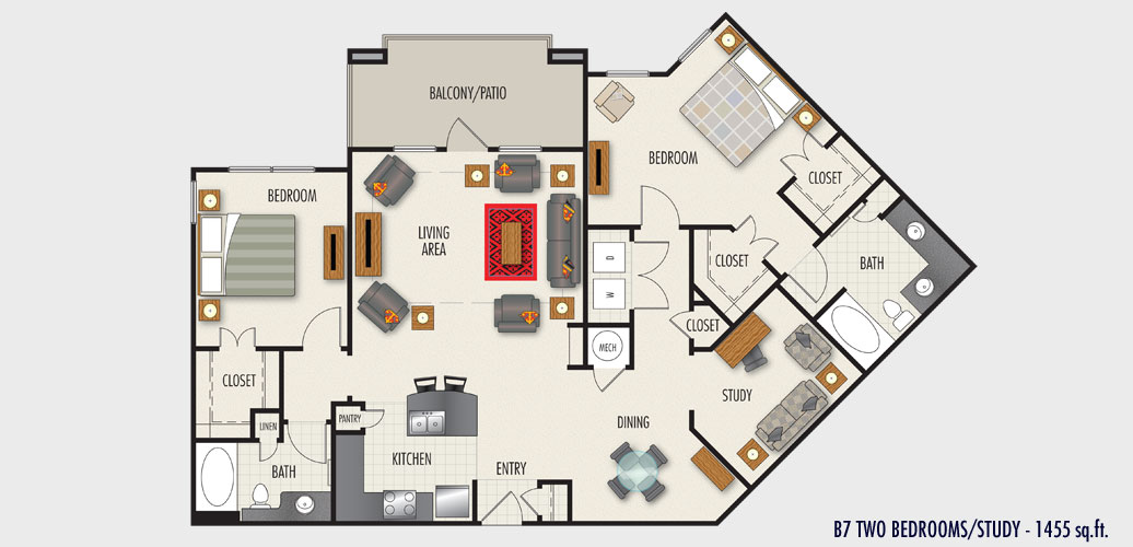 1,455 sq. ft. to 1,563 sq. ft. B7 floor plan