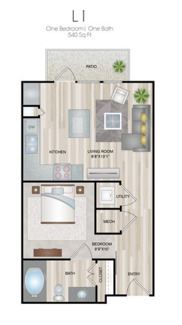 540 sq. ft. L1 floor plan