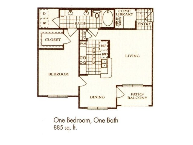 885 sq. ft. A2 floor plan