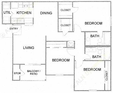 1,105 sq. ft. D floor plan