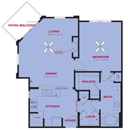 775 sq. ft. A2.2 floor plan