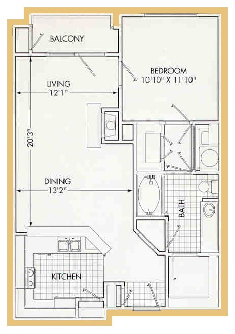 777 sq. ft. A3 floor plan