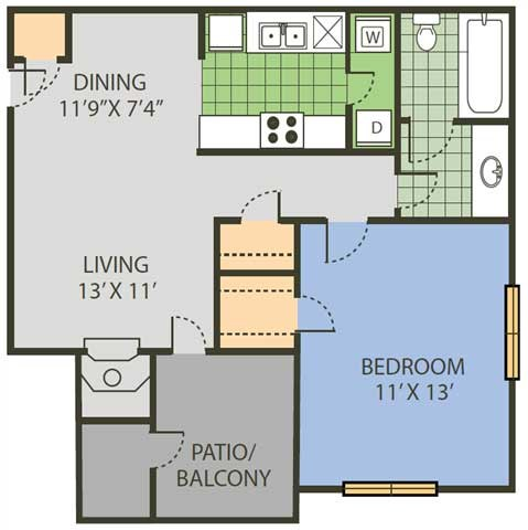 636 sq. ft. Rally floor plan
