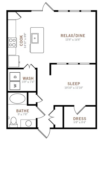753 sq. ft. LW floor plan