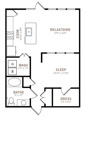 753 sq. ft. LW floor plan