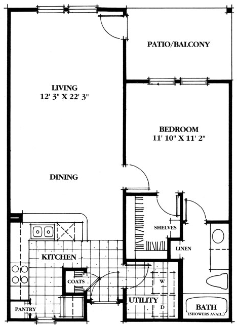 750 sq. ft. Leon floor plan