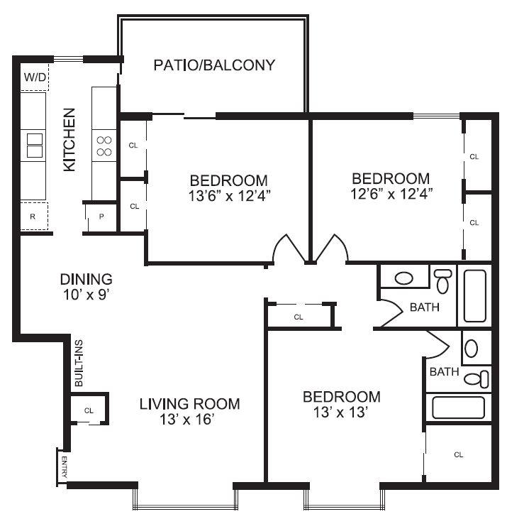 1,559 sq. ft. C2 floor plan