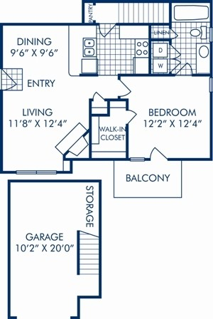 695 sq. ft. A1 floor plan