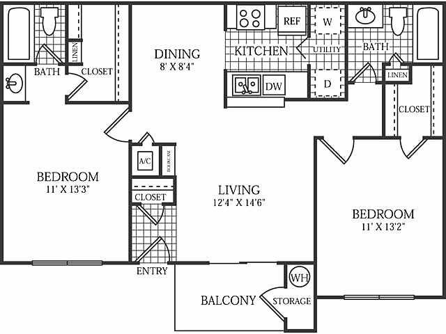 940 sq. ft. Haven floor plan