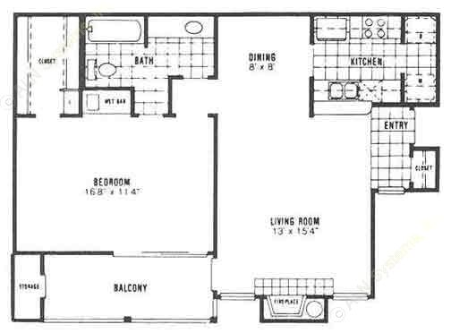 769 sq. ft. A3 floor plan
