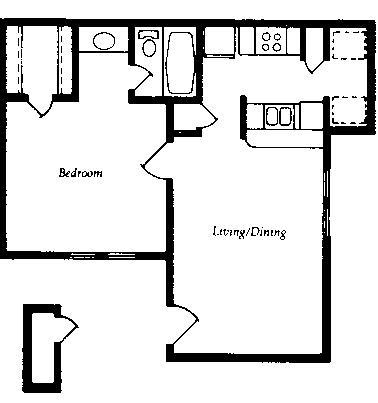 554 sq. ft. A1 floor plan