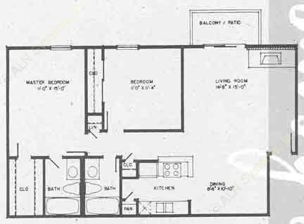 962 sq. ft. B3 floor plan