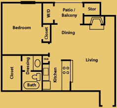 745 sq. ft. A3 floor plan