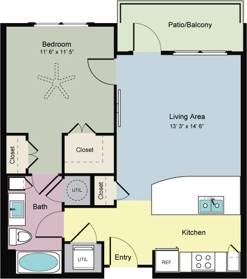 683 sq. ft. Touch (A1B) floor plan