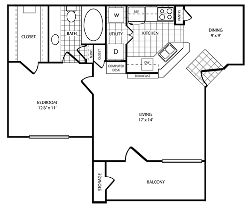 782 sq. ft. Palm floor plan
