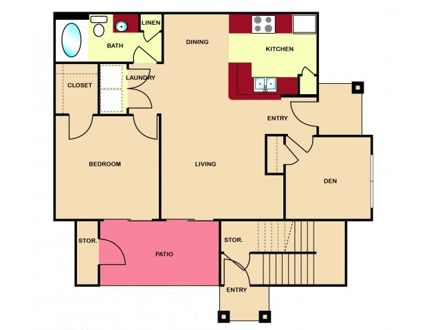 790 sq. ft. to 895 sq. ft. B1 floor plan
