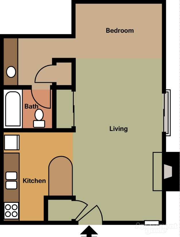 512 sq. ft. E2 floor plan