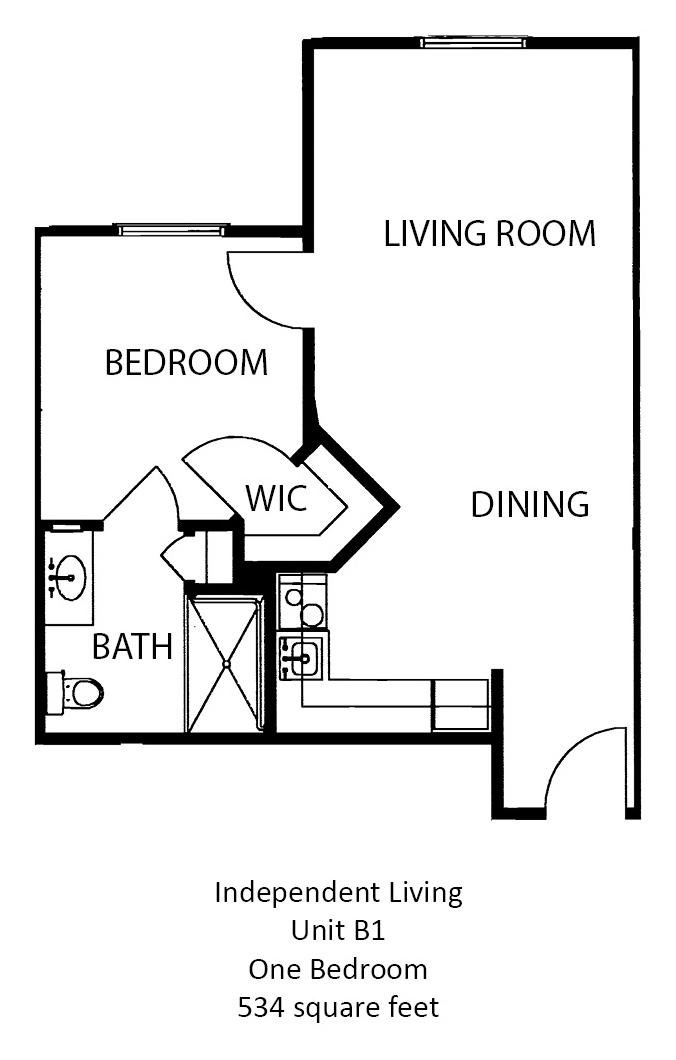 534 sq. ft. floor plan