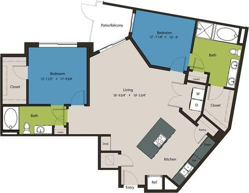 1,278 sq. ft. B5 floor plan