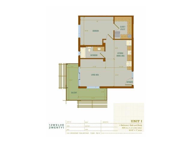 805 sq. ft. I floor plan