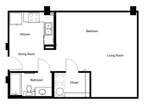 578 sq. ft. E1-II floor plan