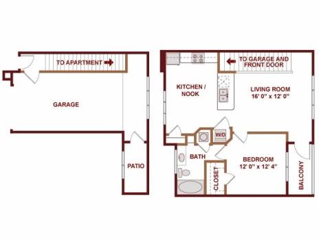 828 sq. ft. Lisbon floor plan