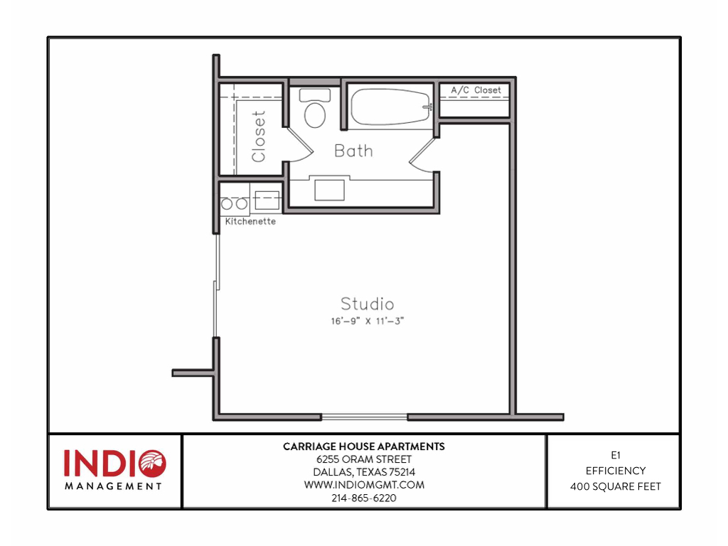 400 sq. ft. E1 floor plan