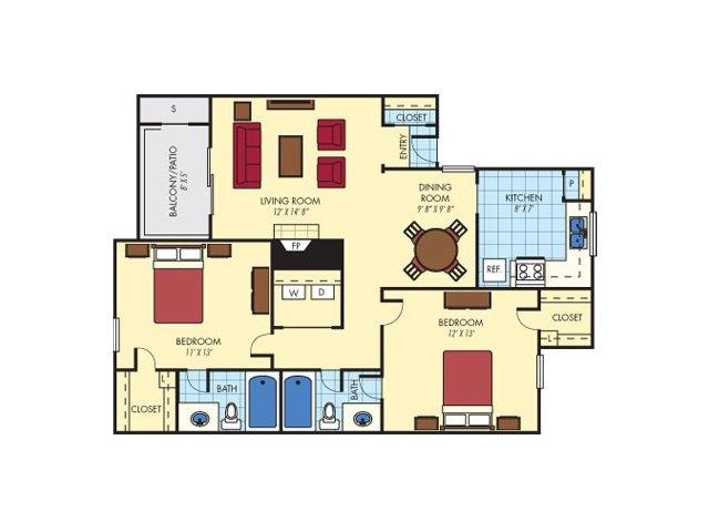 1,070 sq. ft. Berriedale (B3) floor plan
