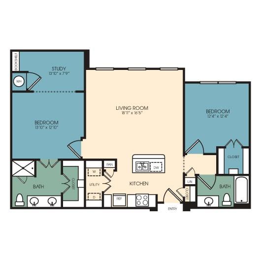 1,211 sq. ft. Fort Collins floor plan