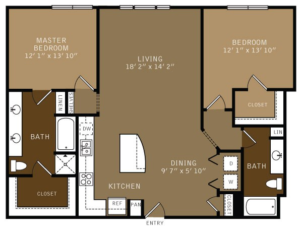 1,352 sq. ft. B4 (I) floor plan