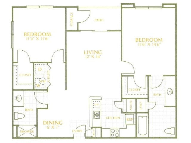 960 sq. ft. MKT floor plan