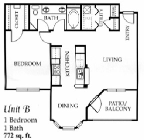 772 sq. ft. B floor plan