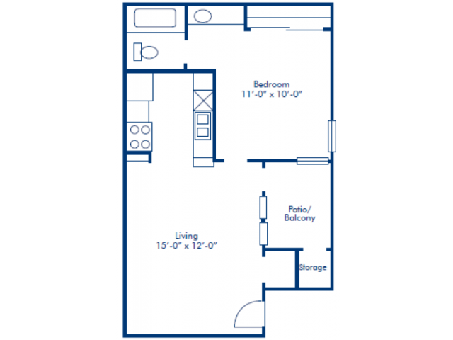493 sq. ft. A floor plan