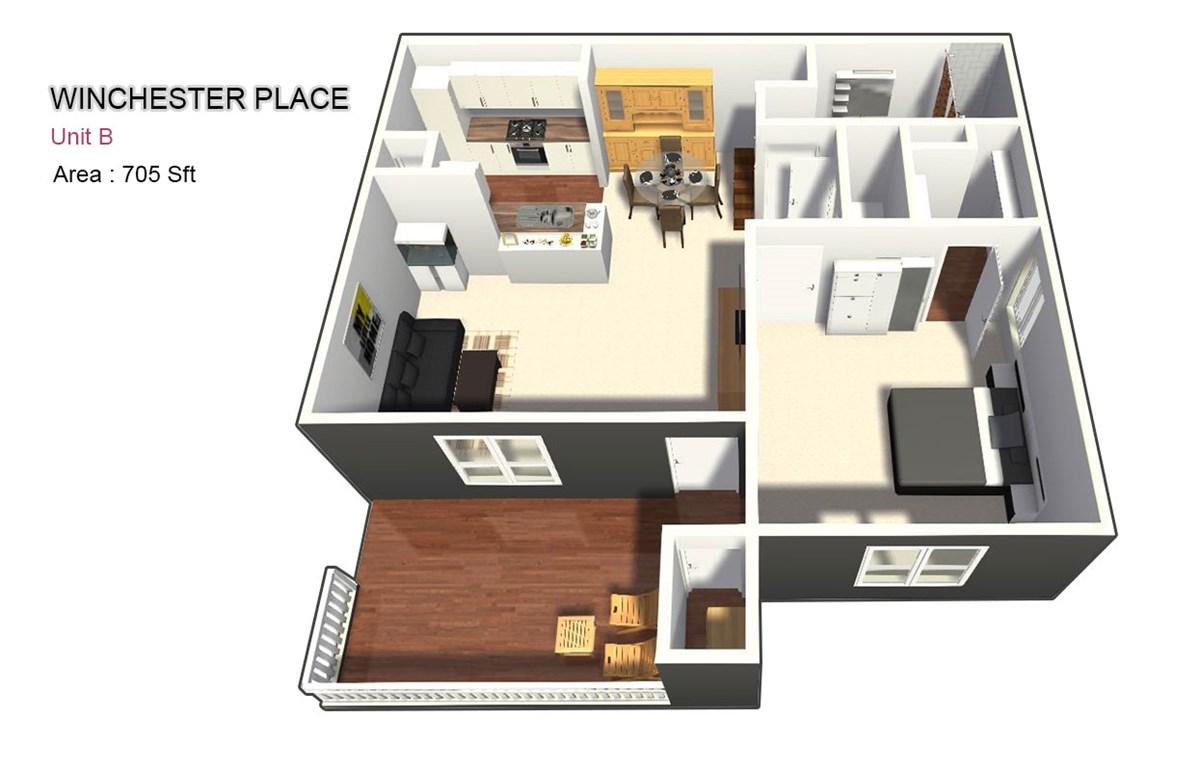 705 sq. ft. B floor plan