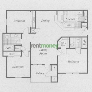 1,155 sq. ft. C/50% floor plan