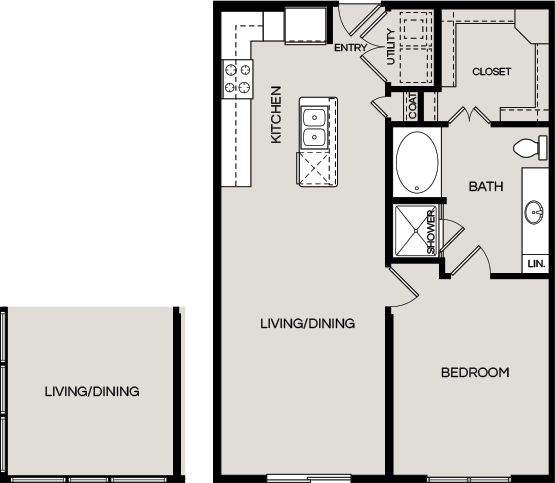 834 sq. ft. A2 floor plan