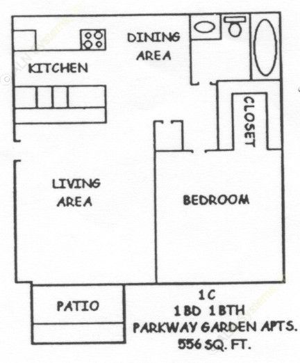 556 sq. ft. 1-1C floor plan