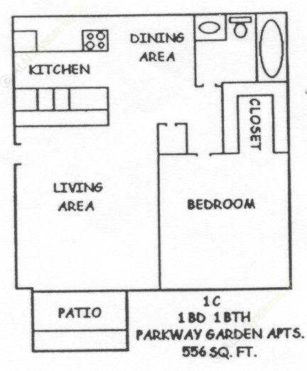 556 sq. ft. 1-1C floor plan