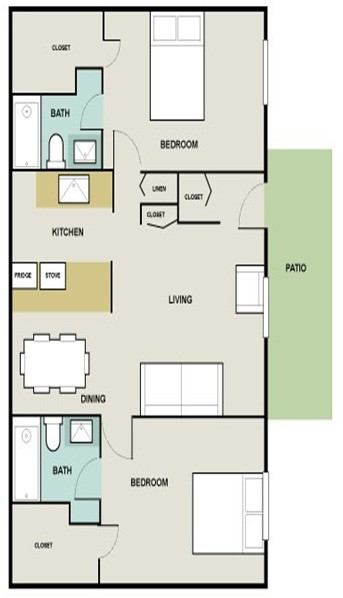1,100 sq. ft. Bluestream floor plan