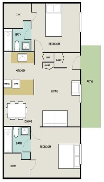 1,100 sq. ft. Bluestream floor plan